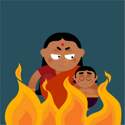 So she asked little Prahlad to sit on a pyre with her. But for the boon to work, Holika needed to enter the fire alone
