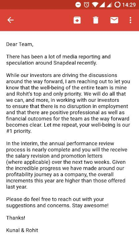 Kunal Letter Snapdeal