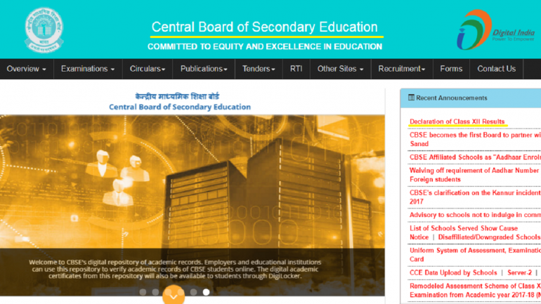 A screenshot of CBSE website cbse.nic.in