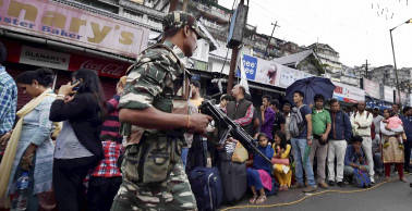 Gorkha Janmukti Morcha supporters march in processions in strike-hit Darjeeling