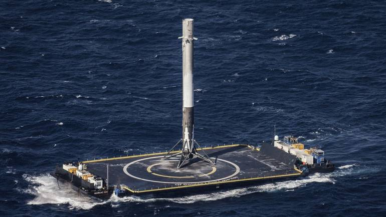 SpaceX Falcon Heavy will be landing on such dronship stationed in the sea