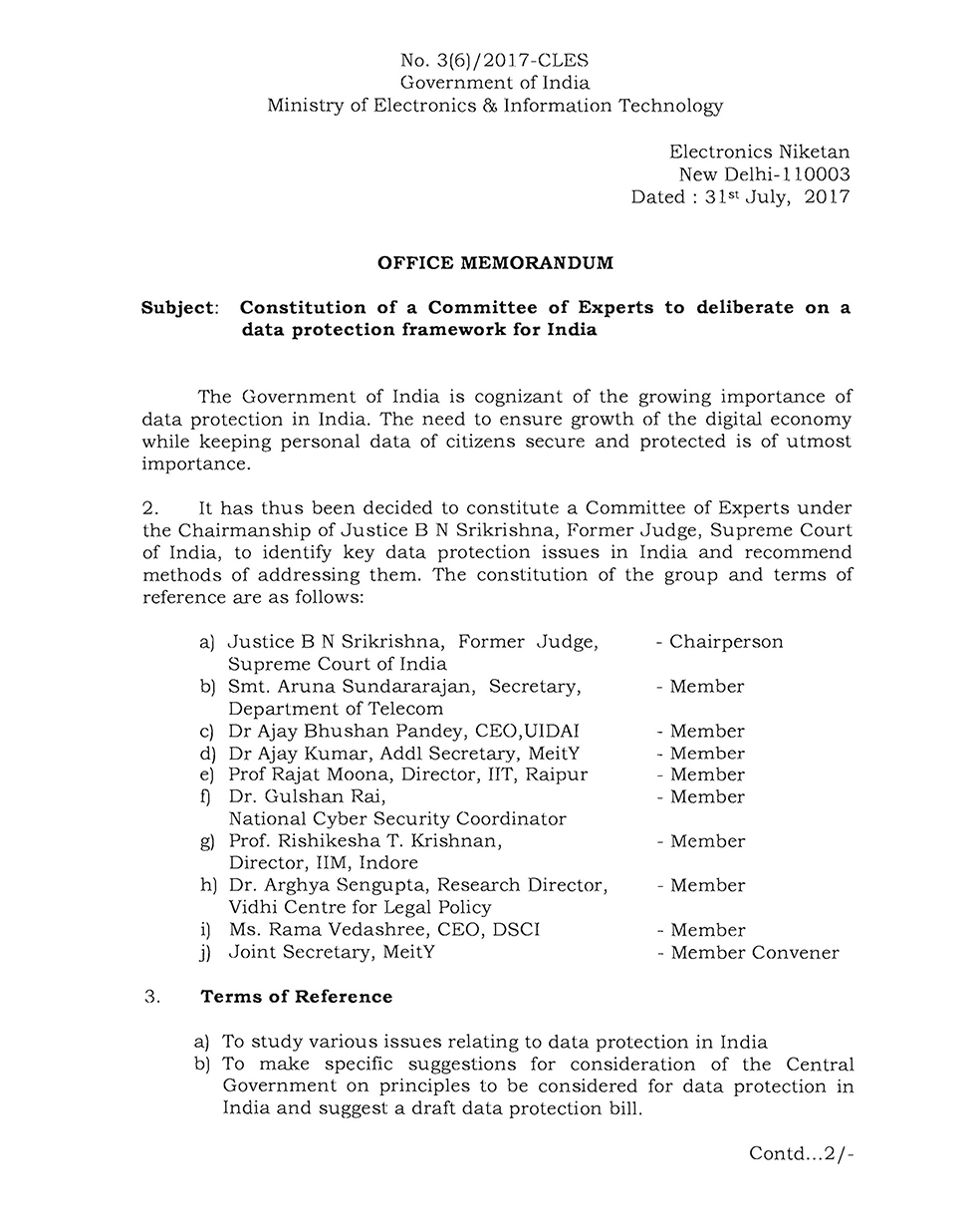 MeitY OM constitution of Expert Committee 31072017-1