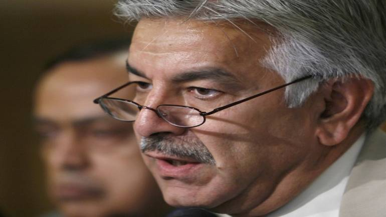 Pakistani Minister Khawaja Muhammad Asif speaks at a news conference in Islamabad