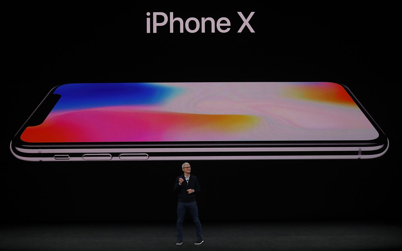 CUPERTINO, CA - SEPTEMBER 12: Apple CEO Tim Cook announces the new iPhone X during an Apple special event at the Steve Jobs Theatre on the Apple Park campus on September 12, 2017 in Cupertino, California. Apple is holding their first special event at the new Apple Park campus where they are expected to unveil a new iPhone. (Photo by Justin Sullivan/Getty Images)
