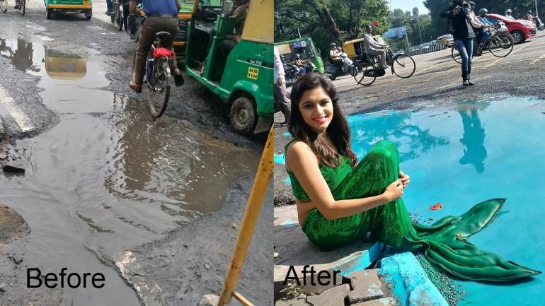 Mermaid out of a pothole: Artist creates 'street art' to highlight Bengaluru's road woes