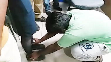 IndiGo female staffer makes misbehaving man touch her feet in viral video
