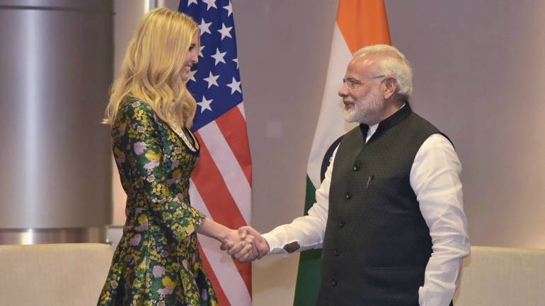 Prime Minister Narendra Modi shakes hands with Ivanka Trump, the Advisor to the President of United States, on the sidelines of the Global Entrepreneurship Summit-2017 in Hyderabad. (PTI)