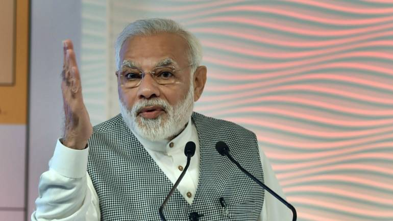 Prime Minister Narendra Modi speaks during the Hindustan Times Leadership Summit in New Delhi. In his speech, Modi said that he is ready to pay the political price for the steps taken by him for a better India and asserted he would not be deterred. (PTI)