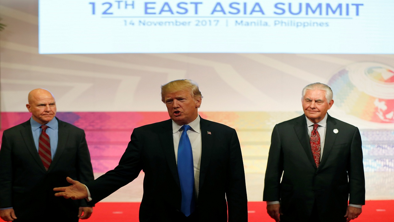 US President Donald Trump gestures as he talks about his 12-day Asia tour that brought him to five countries in Asia, with the final stop in the Philippines for 31st ASEAN Summit Tuesday.