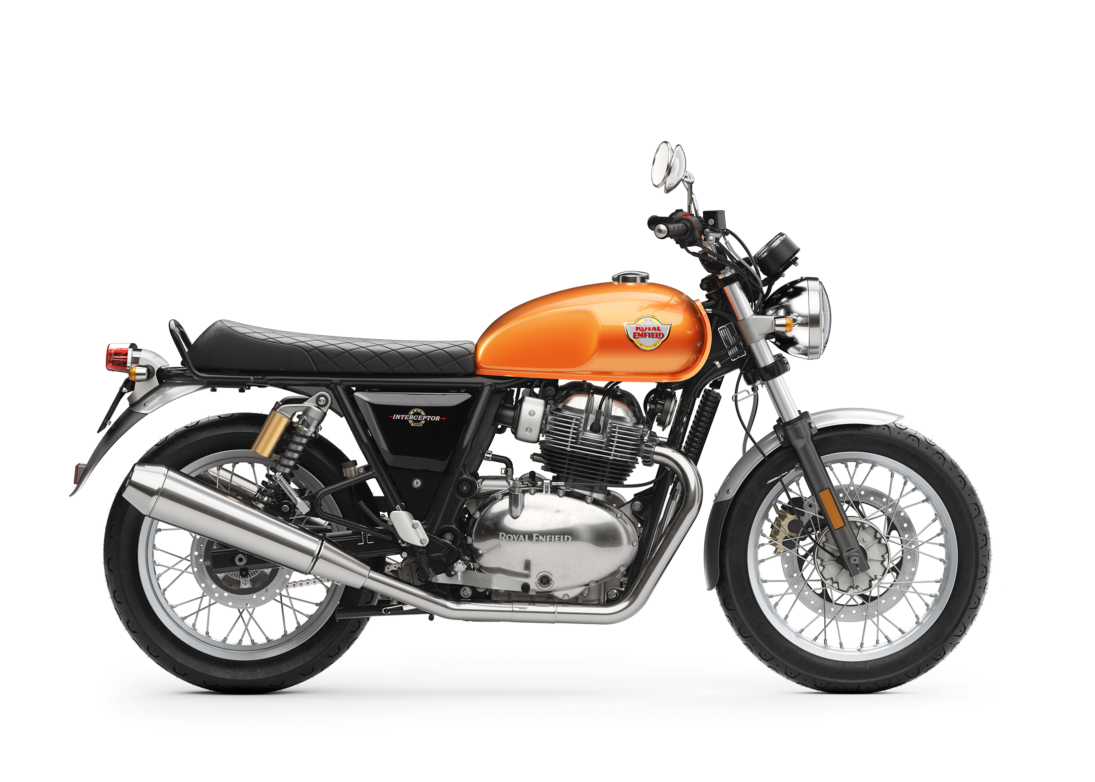 Royal Enfield Interceptor INT 650 The Interceptor is a roadster having an all-new, dedicated steel-tube cradle chassis. It has 18-inch front and rear Pirelli tyres and twin shock absorbers, along with front and rear disc brakes with ABS