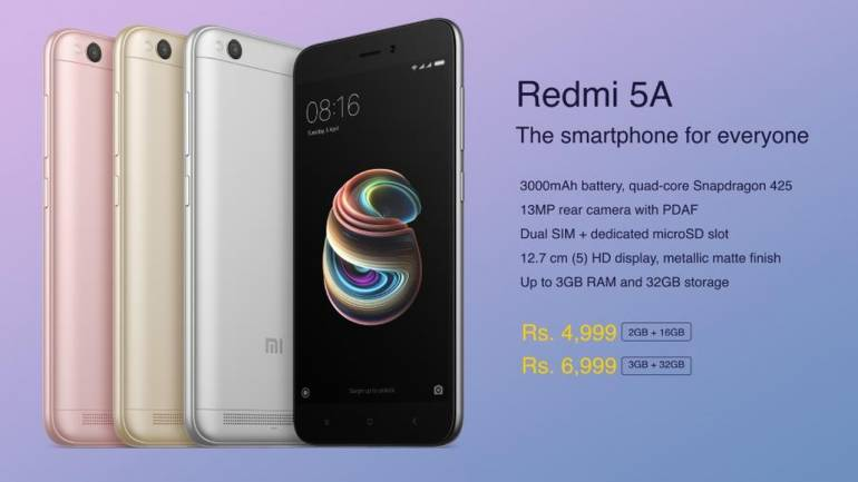 Xiaomi Launches Desh Ka Smartphone Redmi 5A For Rs 3999