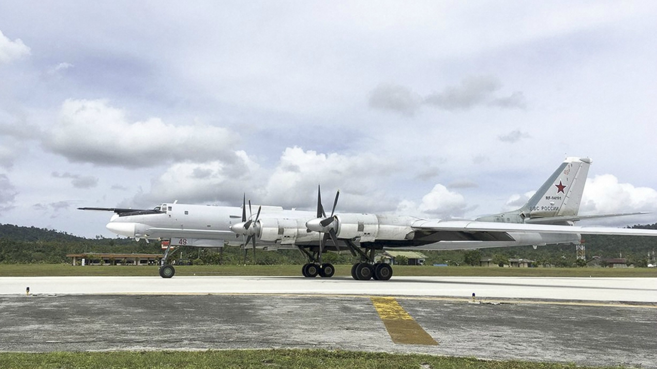 A Russian Tu-95 bomber arrives on Biak Island in Indonesia. The visit by the bombers capable of carrying nuclear weapons seems to underline Russia's resurgent military might and its desire to expand its foothold around the world. (PTI)