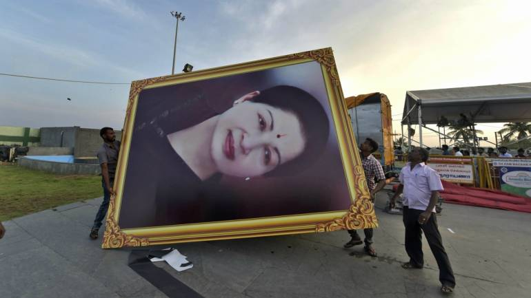 Preparations in full swing at the burial place of former Tamil Nadu Chief Minister J Jayalalithaa, the first death anniversary of the late AIADMK Chief will be observed across the state. (PTI)