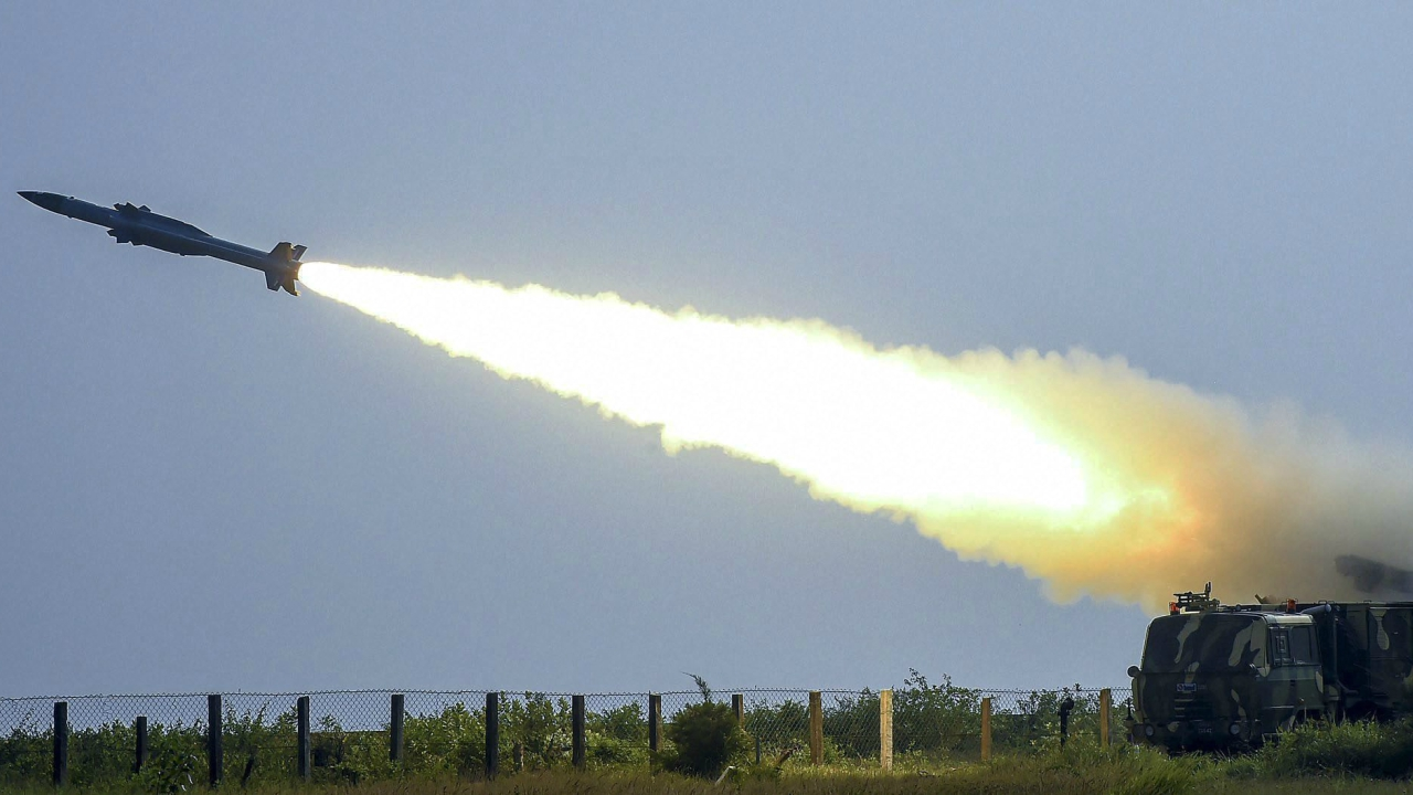 Surface to Air Missile AKASH with indigenous seeker, successfully test fired from the Launch Complex-III, at ITR Chandipur, Odisha. (PTI)
