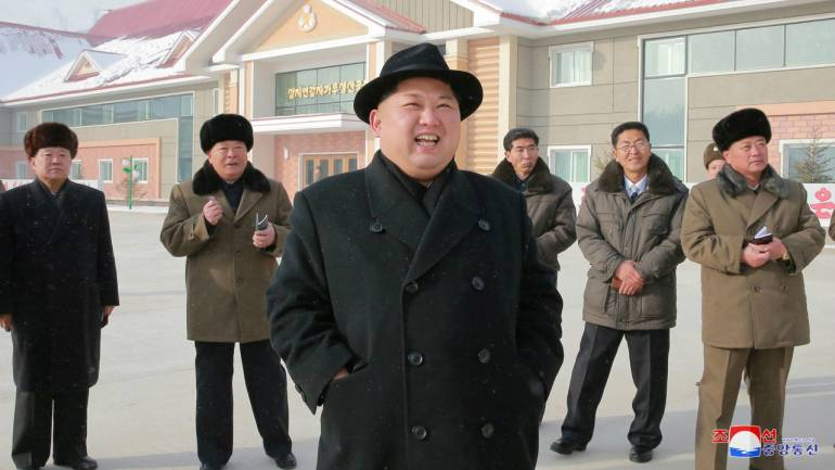 North Korea's leader Kim Jong Un is seen during the inspection of a potato flour factory in this undated photo released by North Korea's Korean Central News Agency (KCNA) in Pyongyang. (Reuters)