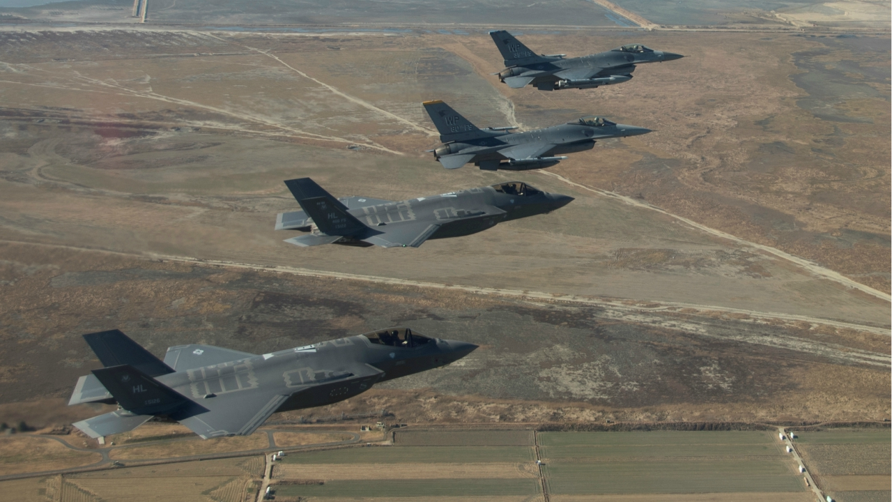 US Air Force F-16 Fighting Falcons and F-35 Lightning IIs participate in a training mission near Kunsan Air Base in preparation for VIGILANT ACE 18 in South Korea. (Reuters)