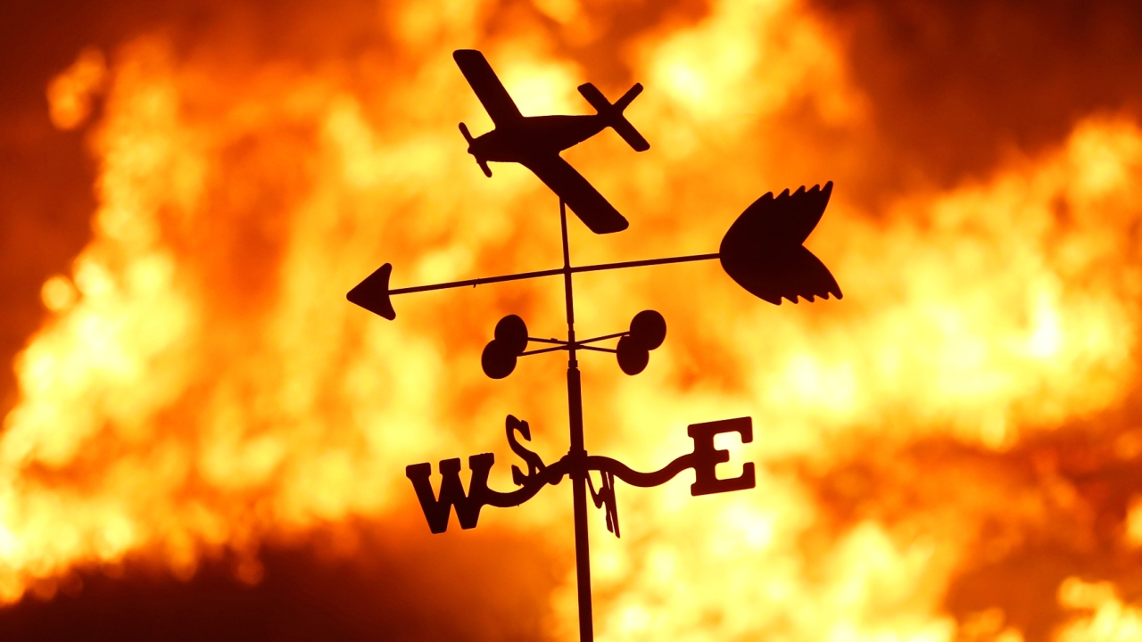 A weather vane is pictured on a ranch during the Creek Fire in the San Fernando Valley north of Los Angeles, in Sylmar, California. (Reuters)