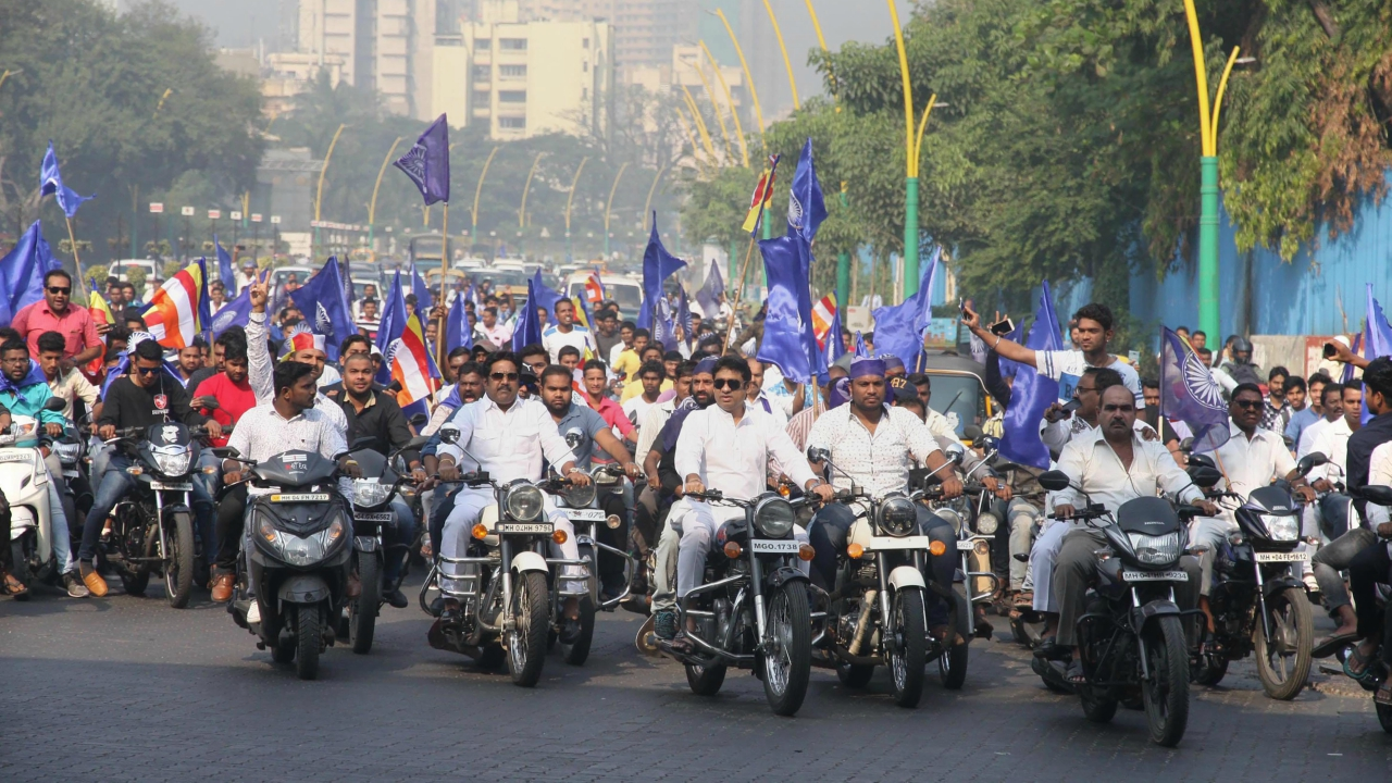 Dalit protesters take part in a bike rally on the Eastern Express Highway in Thane. (PTI)