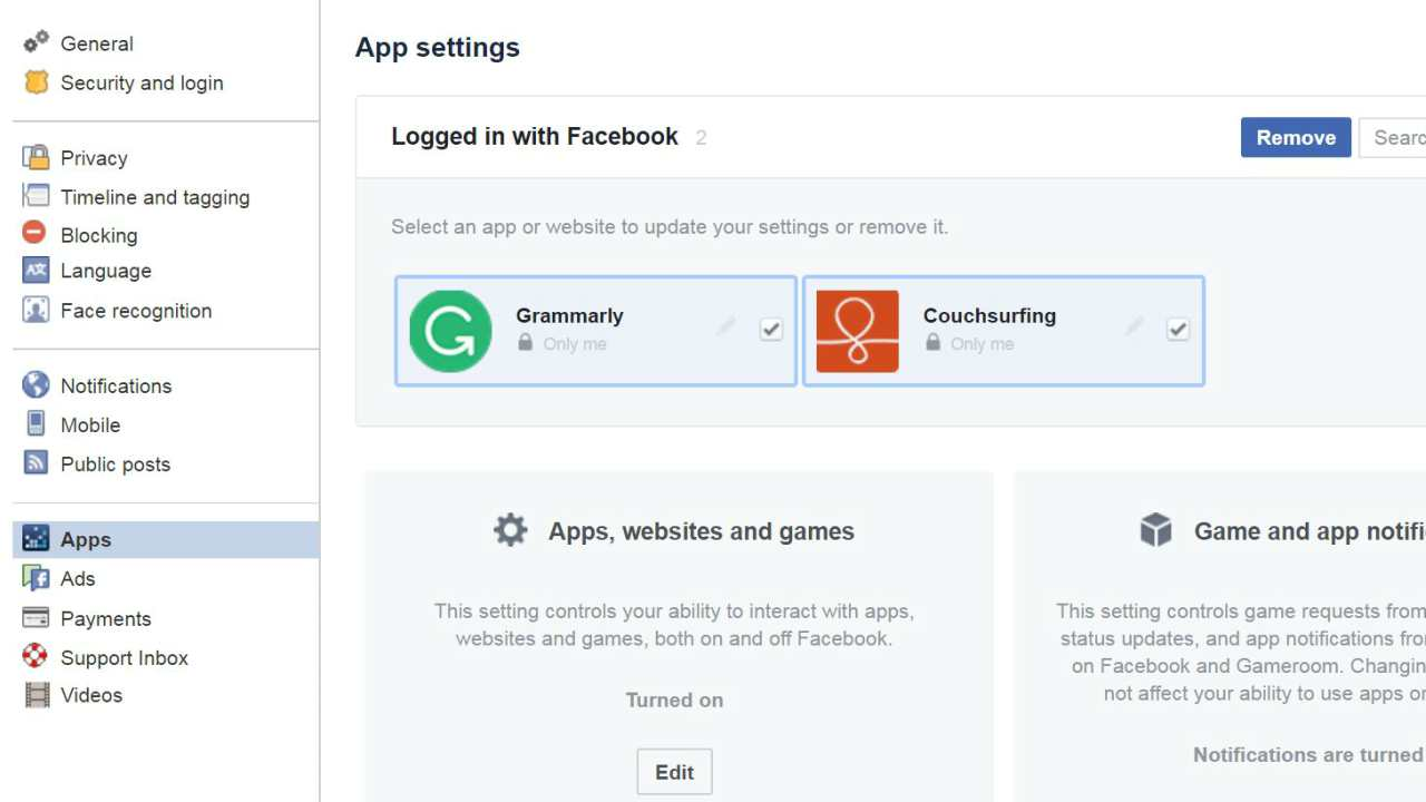 Facebook creates tool to remove login for third party apps