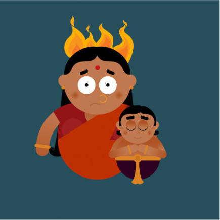 Holika was burnt to ashes, while Prahlad - who had been chanting Vishnu's name - emerged unhurt!
