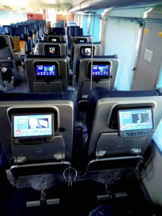 Tejas Express coaches seats are equipped with LCD screens.