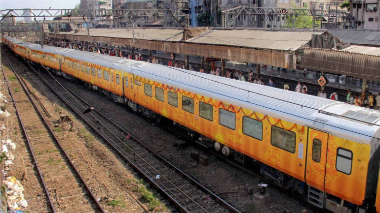 Mumbai: The Tejas Express before it was flagged off for Goa, at CS Terminus in Mumbai on Monday. PTI Photo (PTI5_22_2017_000220B)