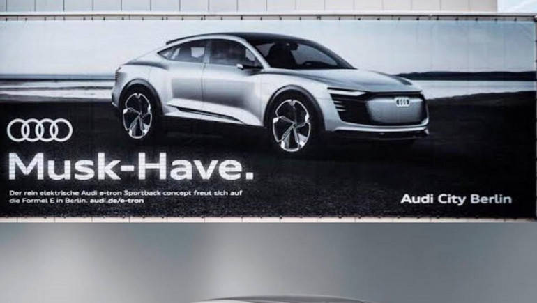 In Its Latest Advertisement Billboard Which Appeared In Germany, Audi Has  Taken A Potshot On Electric Car Maker Tesla. The Billboard Displays Its New  Model ...