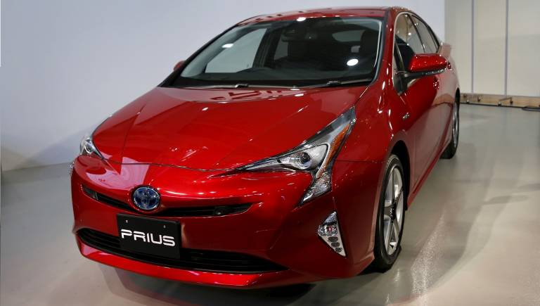 Toyota's Prius Hybrid Car displayed at its launch event in Tokyo, Japan.