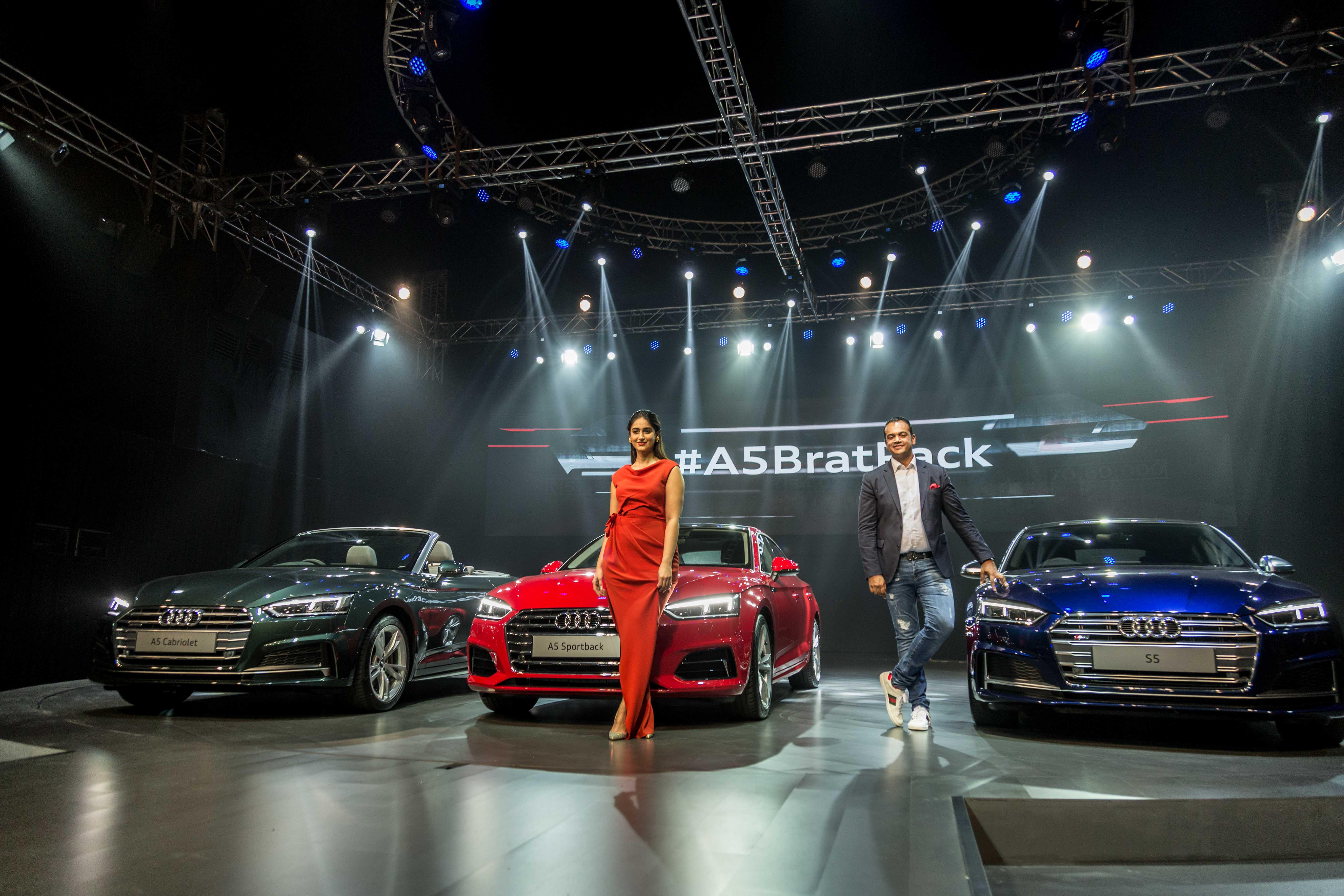 Mr. Rahil Ansari, Head, Audi India with Bollywood actor Ileana Dcrus at the launch of Audi A5 Sportback, A5 Cabriolet and S5 Sportback in India