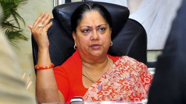Rajasthan CM Raje announces a 4% reduction in VAT on petrol and diesel