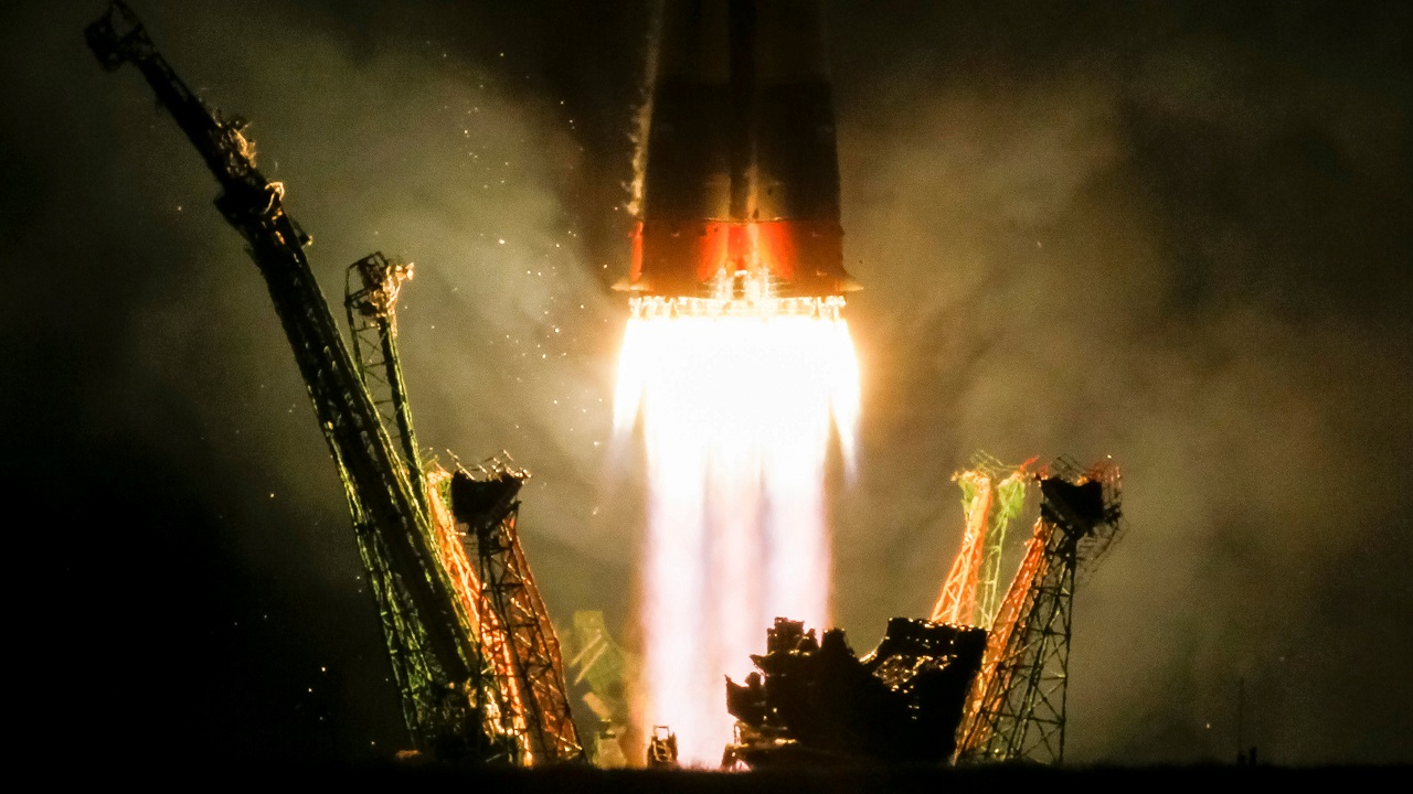 The Soyuz MS-06 spacecraft carrying the crew of crew Joe Acaba and Mark Vande Hei of the the U.S., and Alexander Misurkin of Russia blasts off to the International Space Station (ISS) from the launchpad at the Baikonur Cosmodrome, Kazakhstan on September 13, 2017. (Reuters)