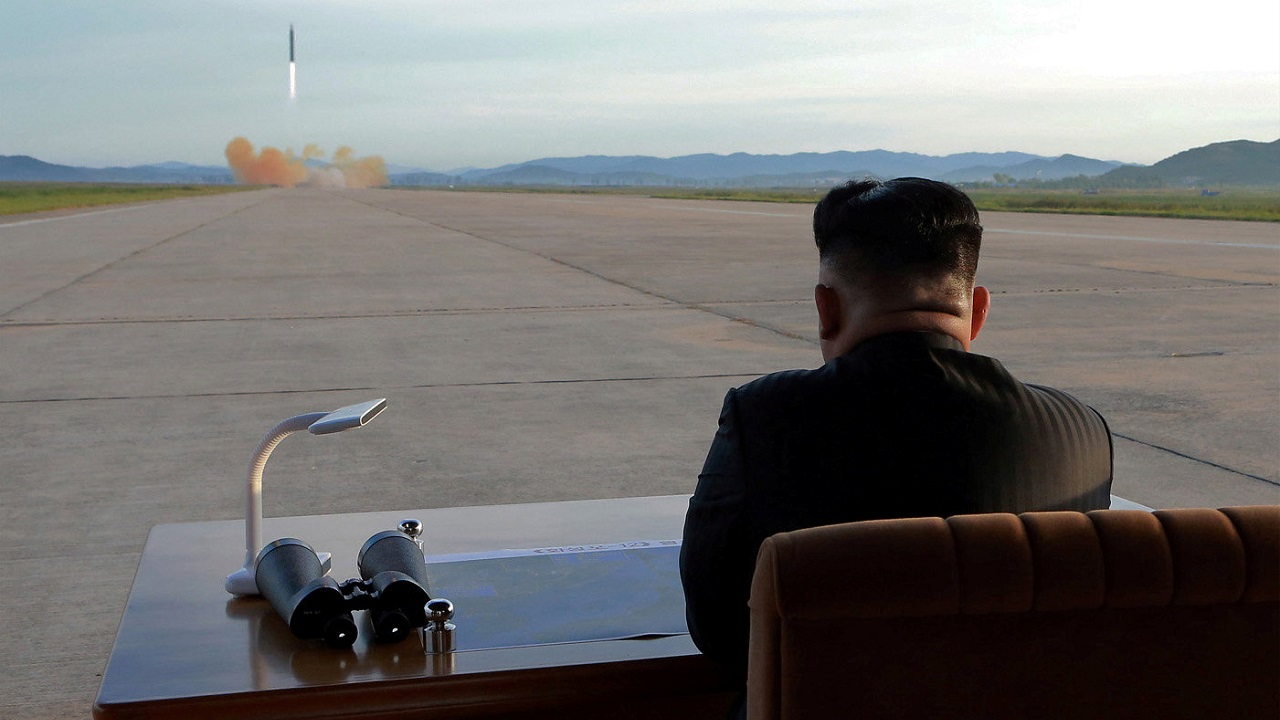 North Korean leader Kim Jong Un watches the launch of a Hwasong-12. (KCNA via Reuters)