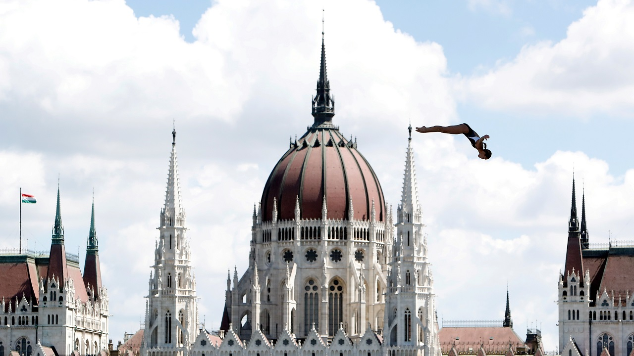 Tara Tira of the US competes in Women's 20m High Dive Round 1 High Diving at the 17th FINA World Aquatics Championships in Budapest, Hungary on July 28, 2017. (Reuters)