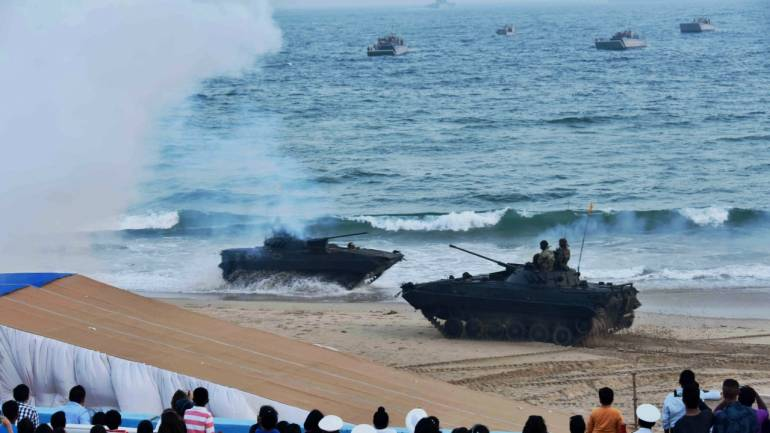The Eastern naval Command (ENC) is conducting Naval Operational display highlighting the multi-dimensional warfare capability of the Indian Navy in protecting the vast Maritime borders and offshore assets of our country on the occasion of Navy Day at RK Beach, Visakhapatnam. (PTI)