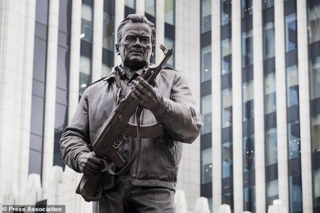The statue belongs to a person who was born into a peasant family began brooding about a new rifle design after he was wounded in a 1941 battler with the Nazis.