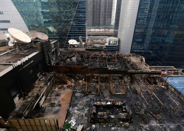 A general view of the restaurants destroyed in a fire in Mumbai. (Reuters)