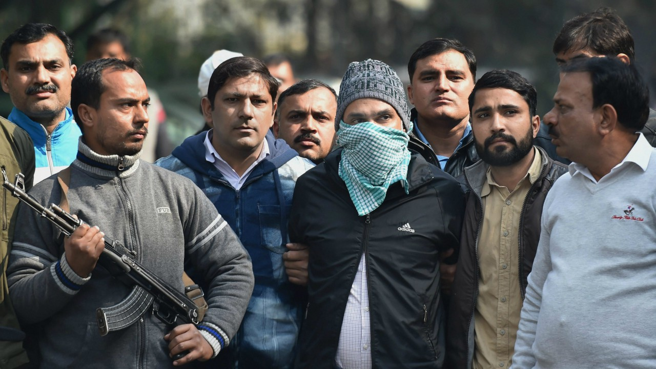 Co-founder of Indian Mujahideen (IM) Abdul Subhan Qureshi, one of the most wated terrorists arrested by Delhi Police Special Cell, before being produced in a court in New Delhi. (PTI)