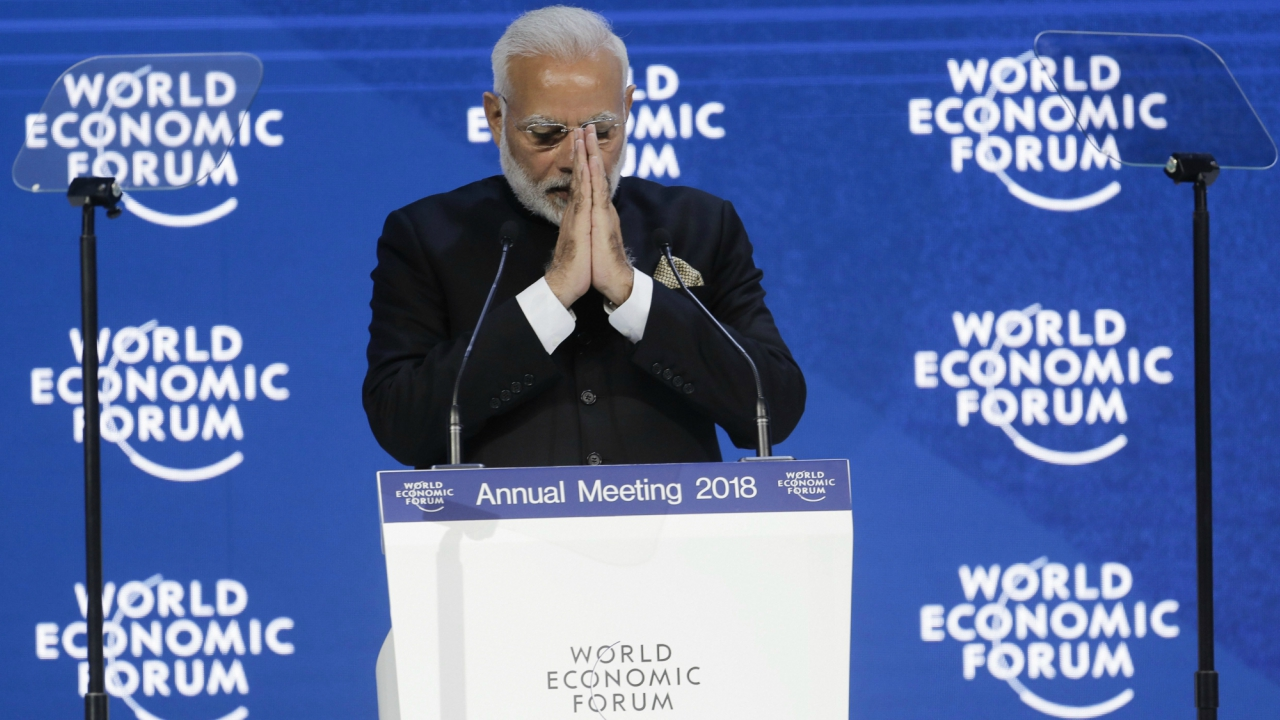 Davos: Prime Minister of India Narendra Modi greets the audience prior to his speech the World Economic Forum, WEF, in Davos, Switzerland. (Picture/Text: AP/PTI)