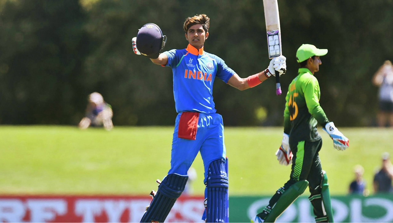 India's Shubman Gill celebrates his century during the semi-final match against Pakistan at the ICC Under-19 World Cup in Christchurch. India thrashed arch-rivals Pakistan by 203 runs to secure a thumping victory to ride into the finals, where they will face Australia. (PTI)