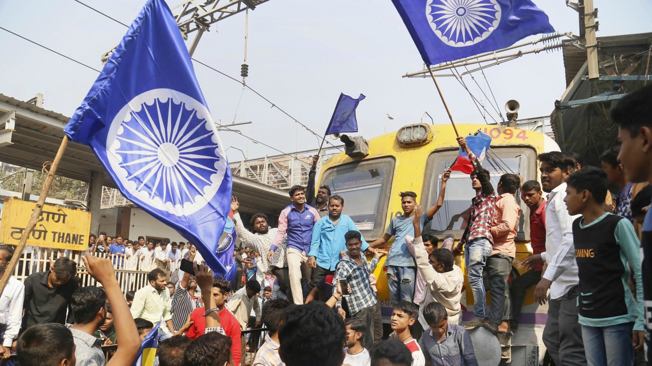 Dalit groups protesting at Thane railway station during the Maharashtra Bandh on Wednesday following clashes between two groups in Bhima Koregaon near Pune, in Mumbai (PTI)