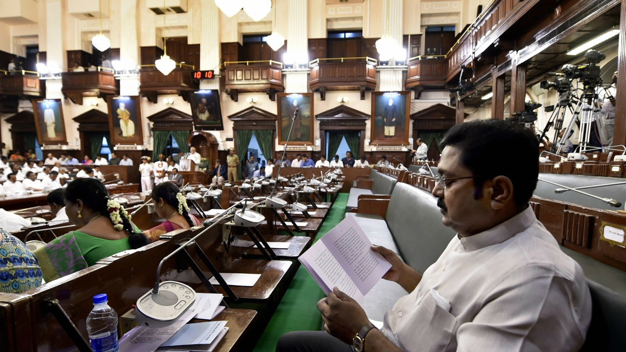 Rebel AIADMK leader TTV Dhinakaran listening the speech of Tamil Nadu Governor Banwarilal Purohit on his maiden appearance as MLA after winning the Dr Radhakrishnan Nagar bypoll last month, in the State Assembly in Chennai (PTI)
