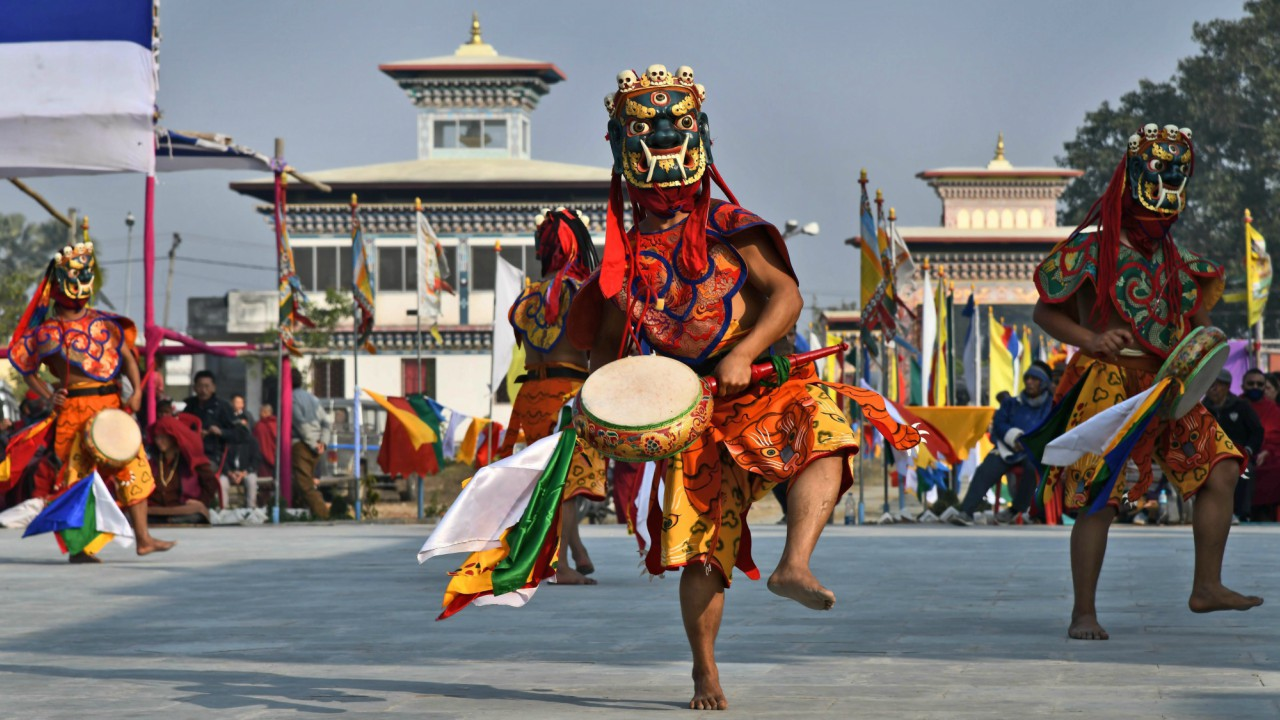 Buddhist monks from Bhutan perform traditional 'Mask Dance' at the Bhutanese temple in Bodhgaya (PTI)
