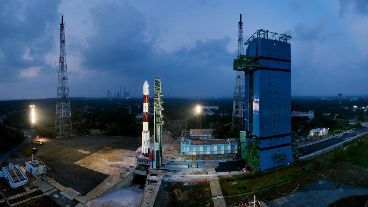 Fully integrated PSLV-C40 with all the 31 Spacecrafts at First Launch Pad, at Sriharikota.ISRO's 100th satellite is set for launch from Satish Dhawan Space Centre, along with 30 others in a single mission. (PTI)
