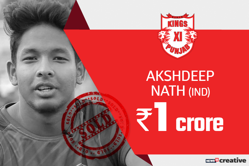 Akshdeep Nath | Team: Kings XI Punjab | Sold for: Rs 1 crore
