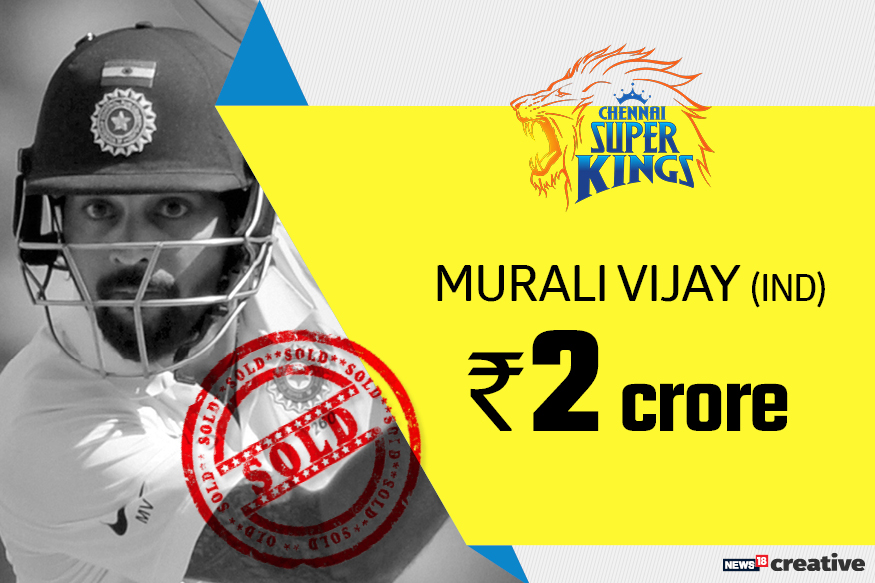 Murali Vijay | Team: Chennai Super Kings | Sold for: Rs 2 crore