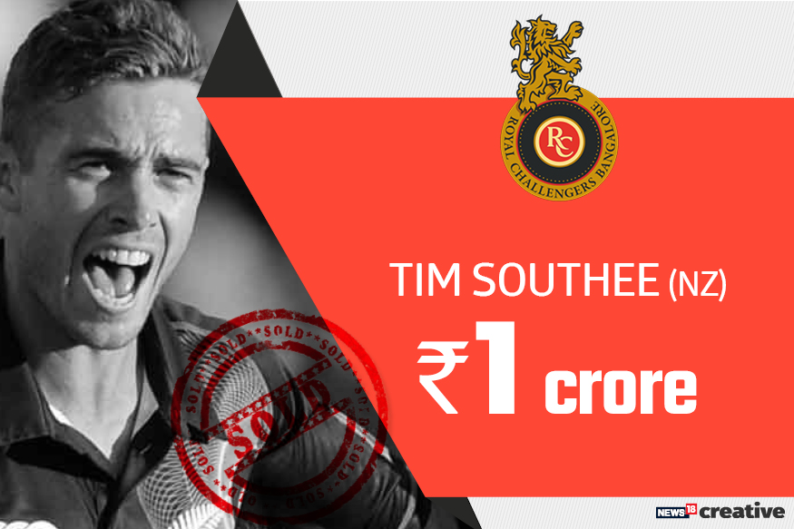 Tim Southee | Team: Royal Challengers Bangalore | Sold for: Rs 1 crore