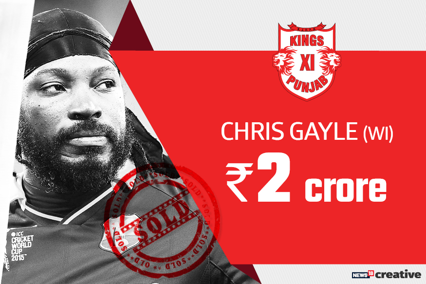 Chris Gayle | Team: Kings XI Punjab | Sold for: Rs 2 crore