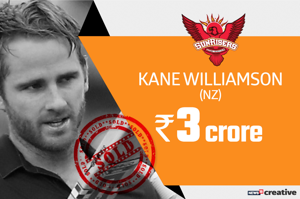 Kane Williamson | Team: Sunrisers Hyderabad | Sold for: Rs 3 crore