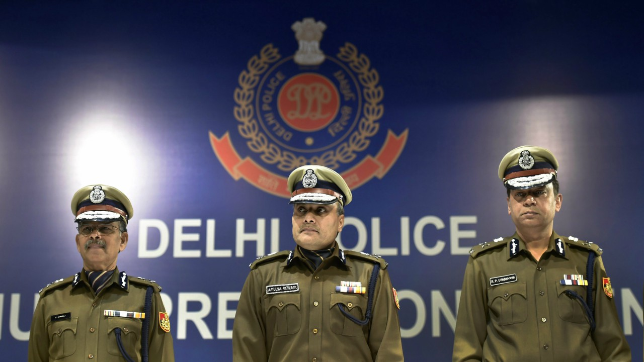 Delhi police commissioner Amulya Patnaik along with other senior police officers during an annual press conference in New Delhi. (PTI)