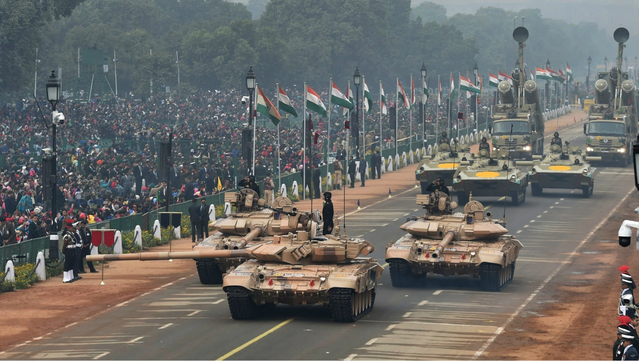 Army tanks move past the saluting dias during full dress rehearsal for the 69th Republic Day Parade at Rajpath in New Delhi. (PTI )
